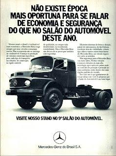 propaganda caminhão Mercedes-Benz  e Salão do Automóvel - 1974. Anuncio Havoline Texaco - com  Emerson Fitipaldi - 1974