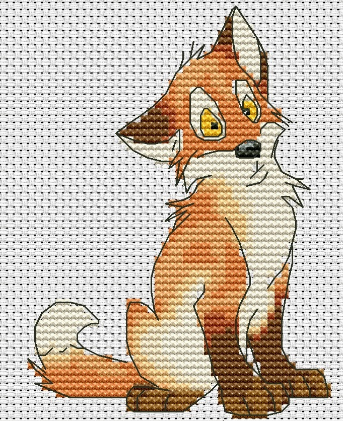 Схема вышивки крестиком лисы 174