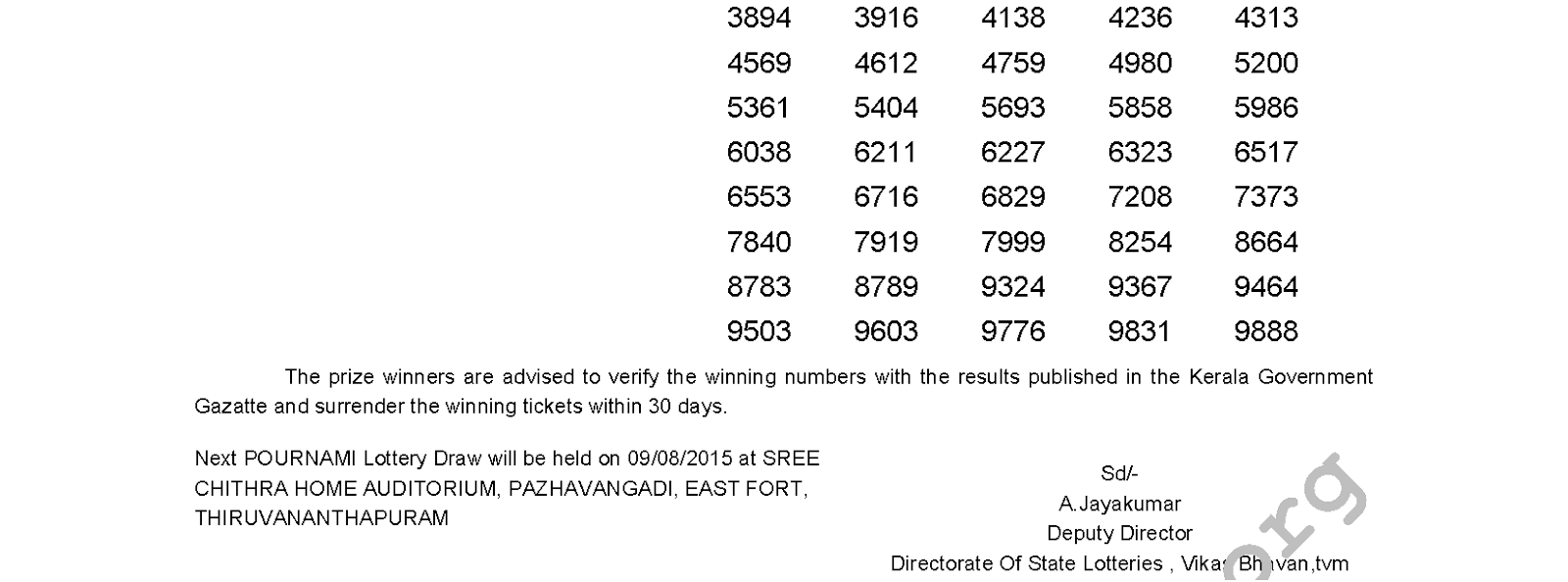 POURNAMI Lottery RN 196 Result 2-8-2015