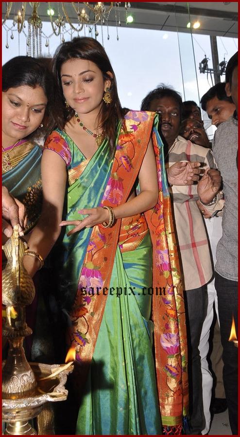 Kajal agarwal latest silk saree pic ay kalaniketan