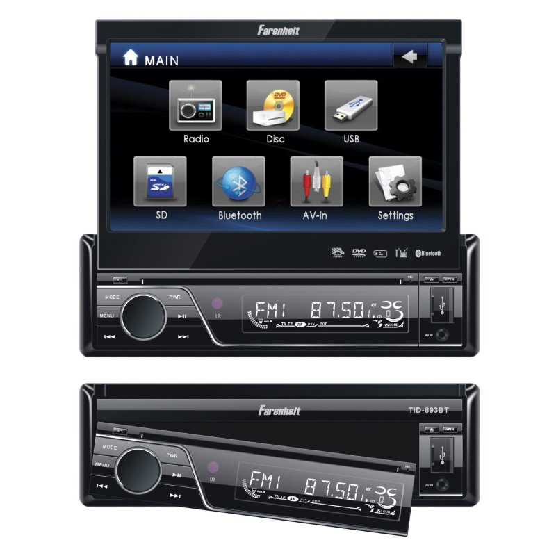 In dash video receivers june 2014 fahrenheit tid 893b in dash source unit dvd player single din with 7 inch touchscreen flip out monitor with bluetooth publicscrutiny Gallery
