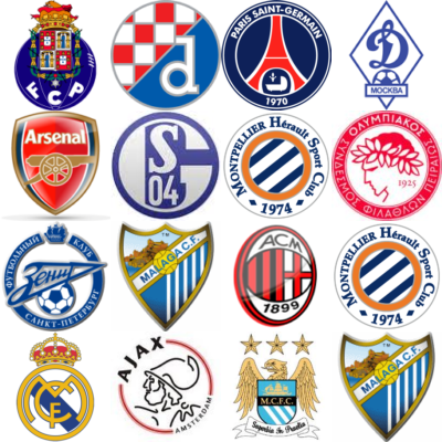 UEFA Champions league groups A-D logos