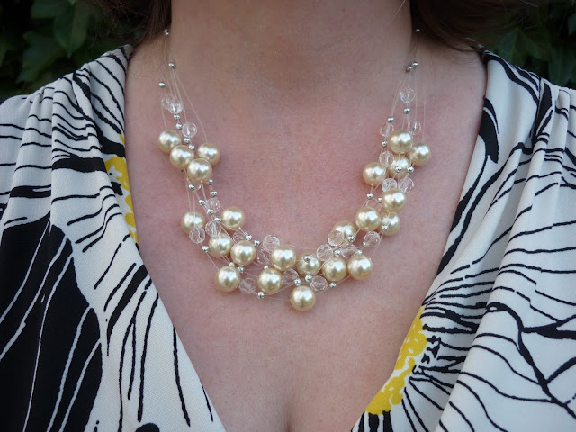 Illusion Faux Pearl and Glass Necklace