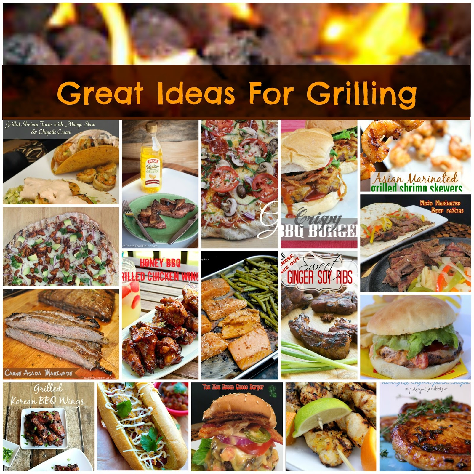 17 Great Ideas for Grilling:  A roundup of 17 recipes to cook on the grill for Memorial Day or anytime you feel like grilling.  From the archives of Great Idea Thursdays.