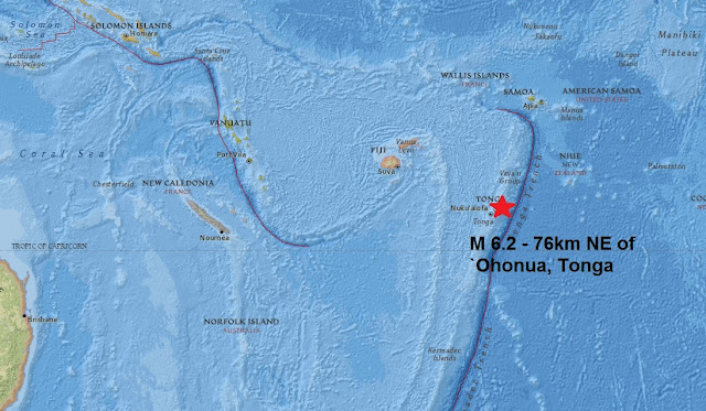 Mag 6.2 - 76km NE of `Ohonua, Tonga is the third major quake this week!  Untitled