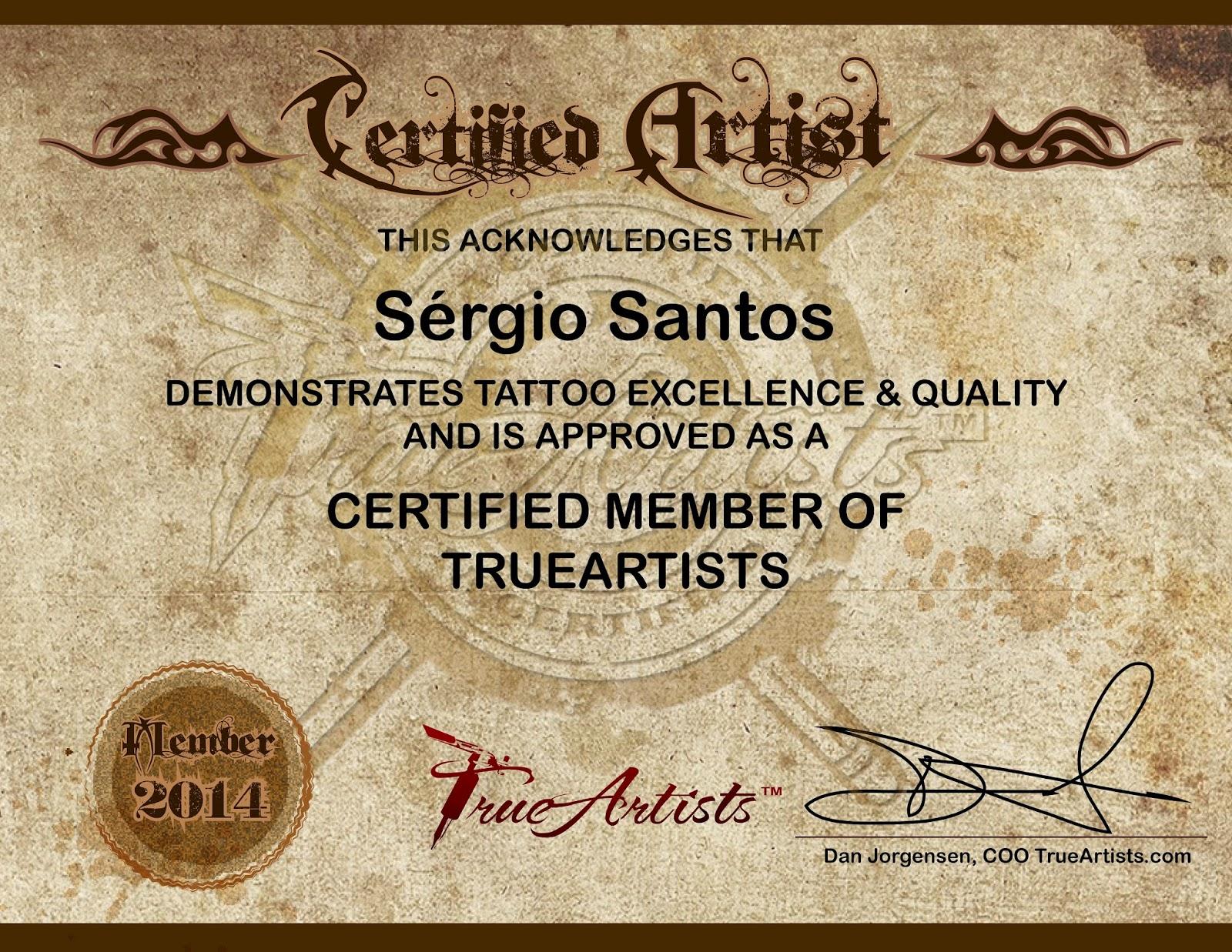 Sérgio Santos tatuador certificado pela True Artists Certified Artist