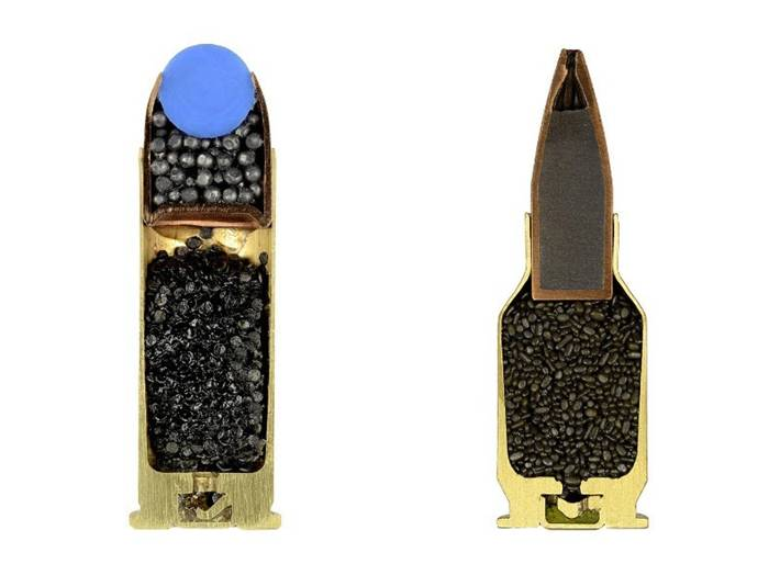 "Sabine Pearlman's intriguing photo series ""Ammo"" features images of a variety of ammunitions that have been neatly cut in half to reveal the surprisingly varied and intricate contents inside. Pearlman shot a total of 900 cross-sections of ammo, in a World War II bunker in Switzerland last October, documenting the meticulous and dangerous beauty that lies beneath the bullets' casings."