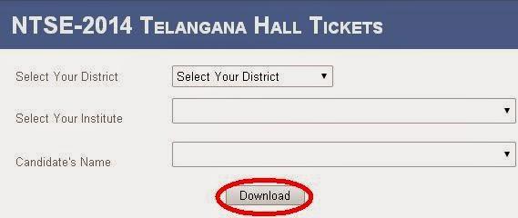 NTSE-2014 Telangana Hall Tickets