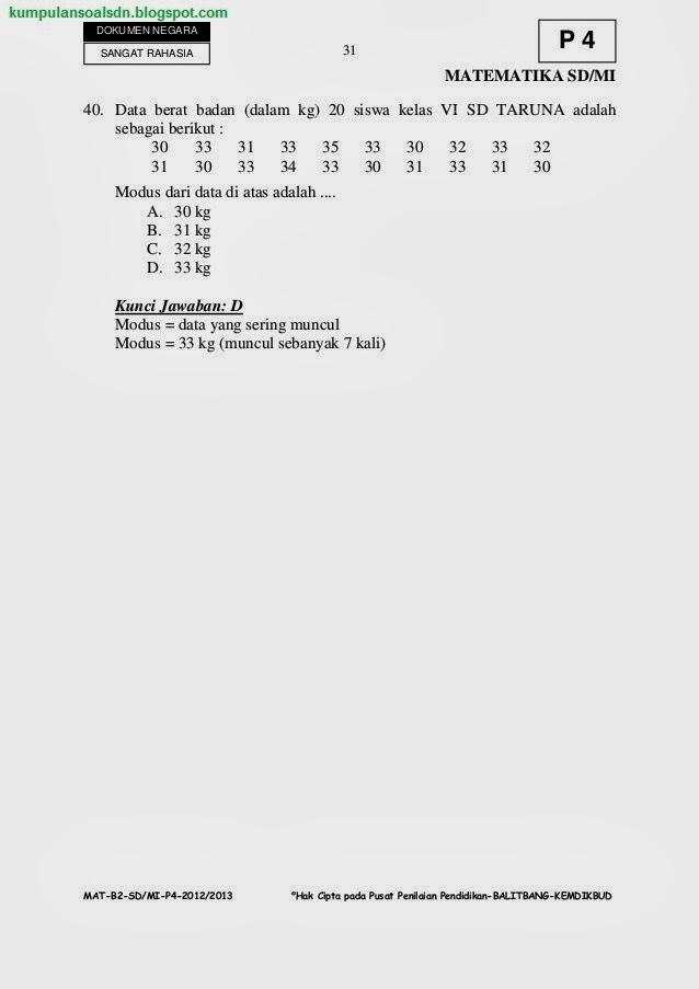 Pembahasan Soal Matematika Un Us Try Out Kelas 6 Vi Sd Paket 4 Ta 2012 2013 Kumpulan Soal Sd