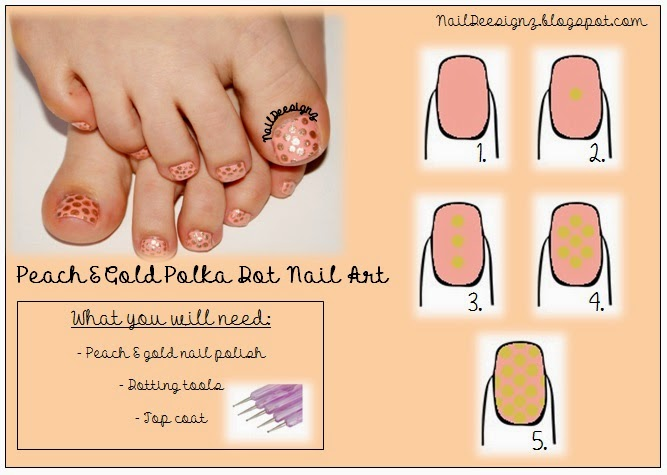http://naildeesignz.blogspot.co.uk/2014/04/peach-gold-polka-dot-pedicure.html