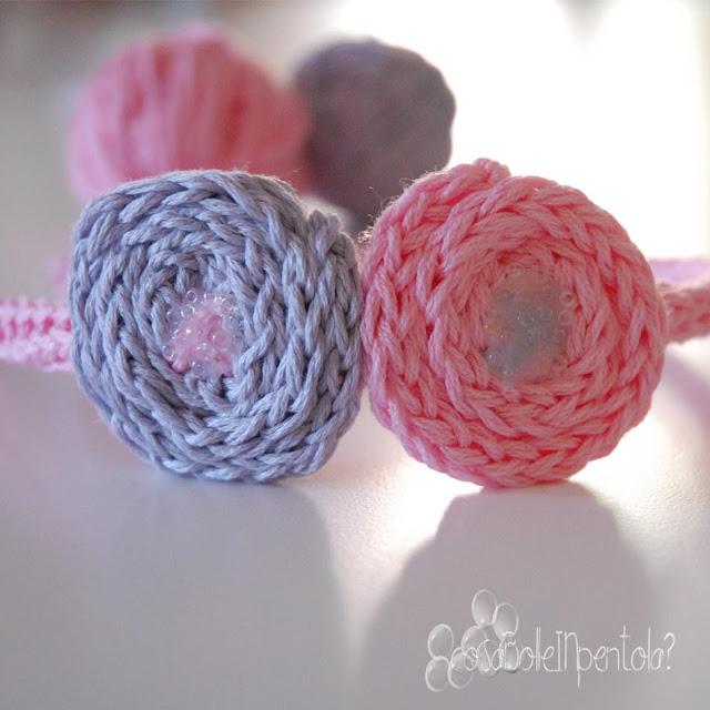 cerchietto fatto a mano tricotin e perline