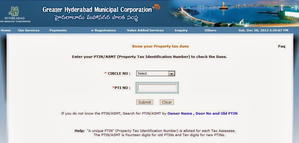 Greater hyderabad municipal corporation ghmc select your ghmc circle and enter your property tax identification number or ptin number in the box as shown below yadclub Images