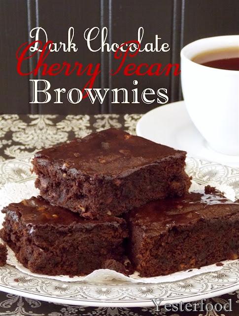dark chocolate cherry pecan brownies