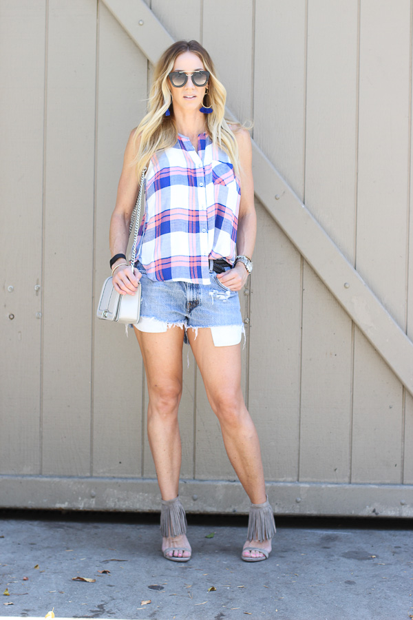 plaid cutoffs and fringe heels