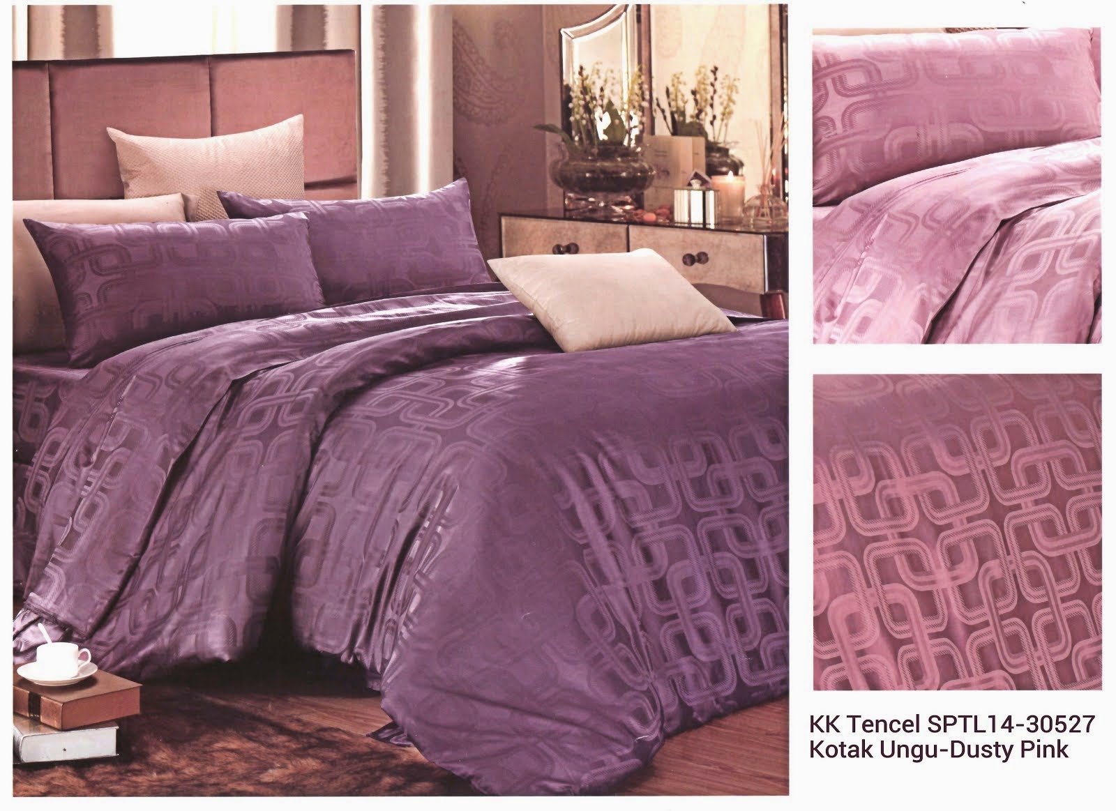 Sprei King Koil Tencel Ungu Motif Dusty Pink