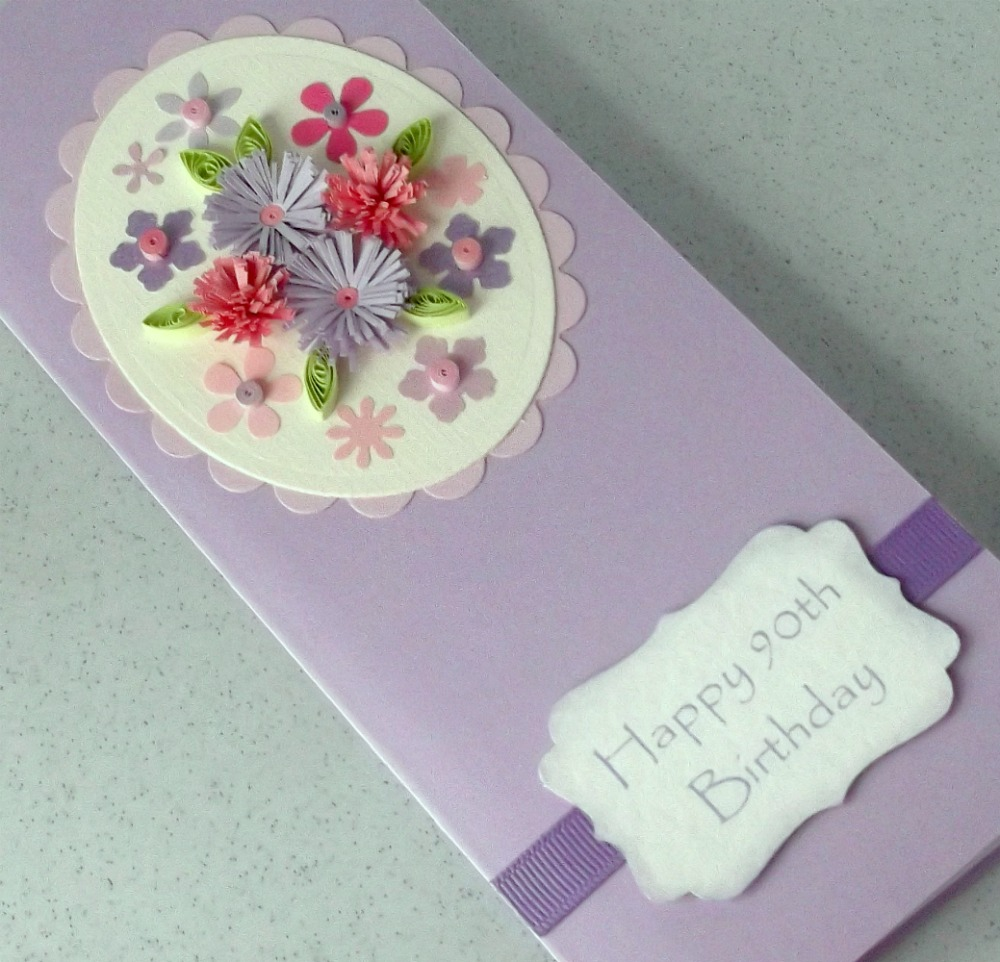 Birthday Cards Handmade Simple Quilled 90th birthday card