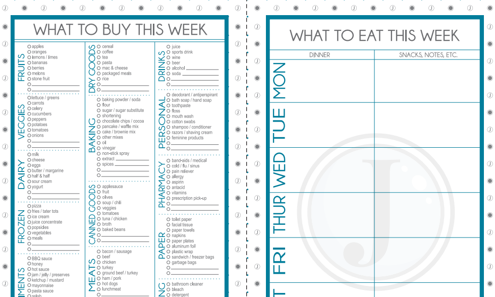 Free download weekly menu grocery list template programs for Menu planning template with grocery list
