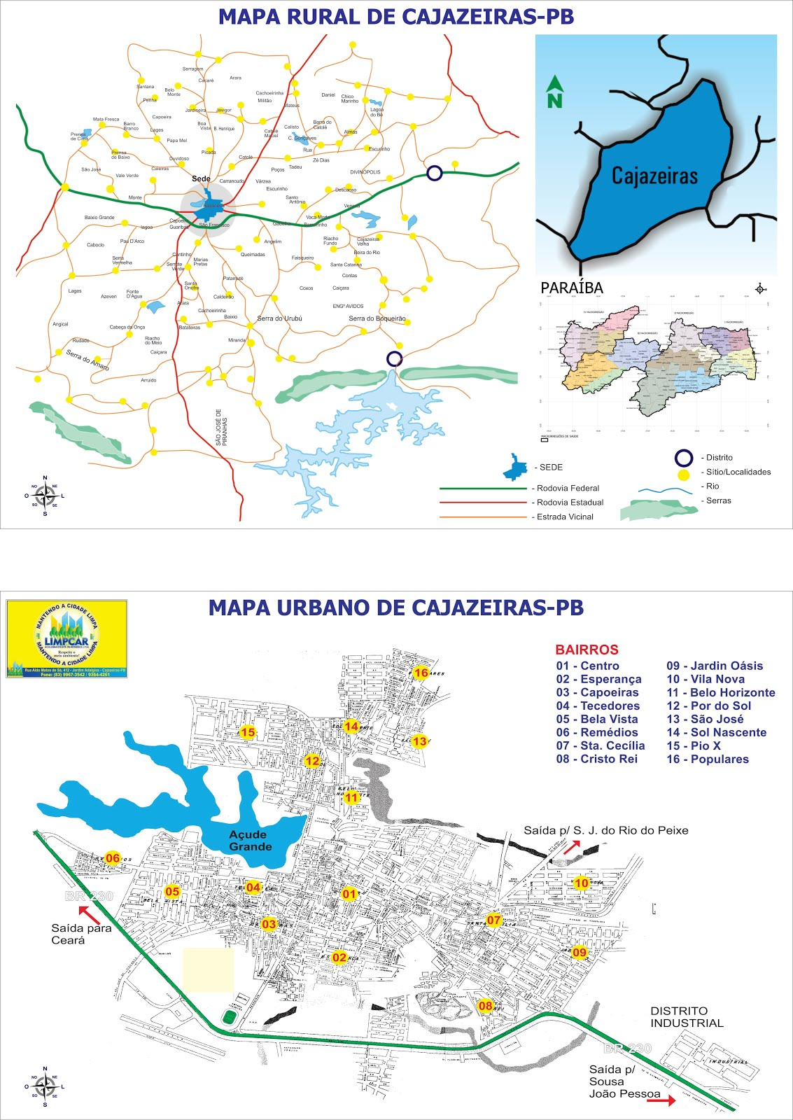 MAPA RURAL  E URBANO DE CAJAZEIRAS PB