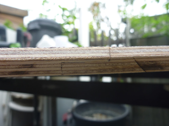 Rebate joint used to join two pieces of birch plywood