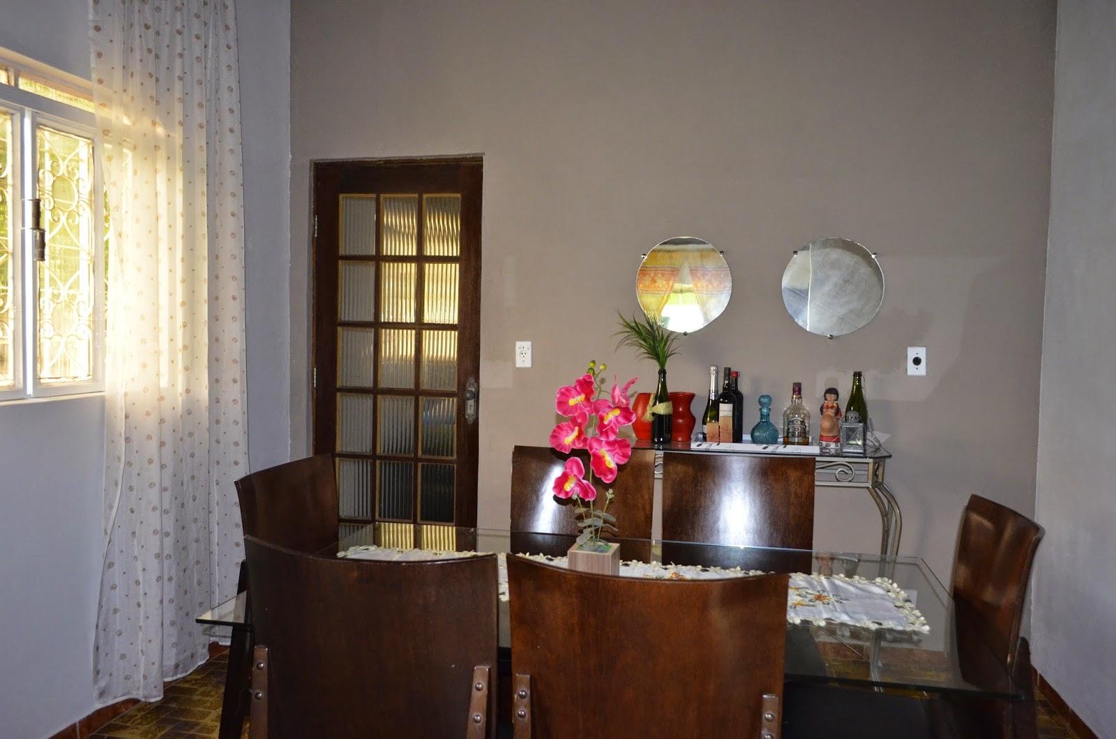 Sala Pequena Com Tecido Na Parede ~  de ideias e decoração A transformação da minha sala de jantar