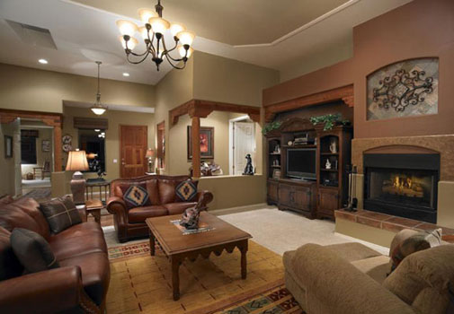 Bring the old western style house to house with modern for Rustic living room interior design