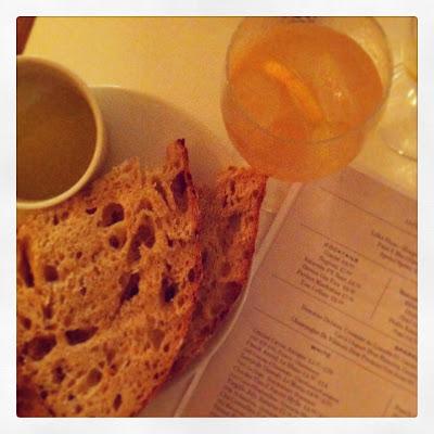 Quince gin fizz; bread