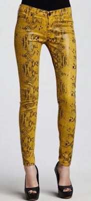 Seven For All Mankind 'The Skinny' Print Stretch Jeans- Mustard Snake