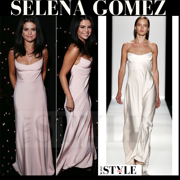 Selena Gomez in silk pink maxi dress Narciso Rodriguez what she wore red carpet