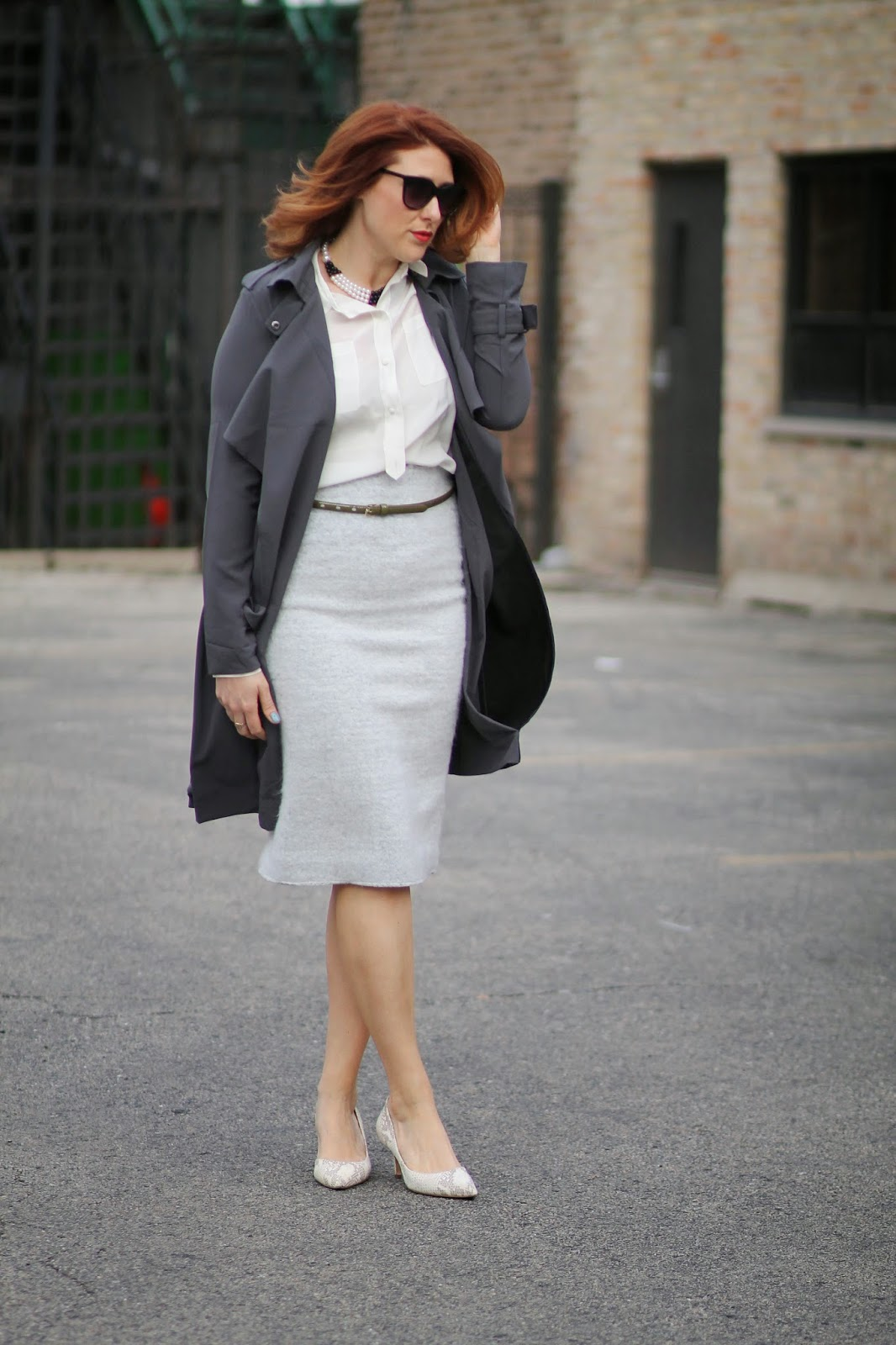 trench, coat, pencil, skirt