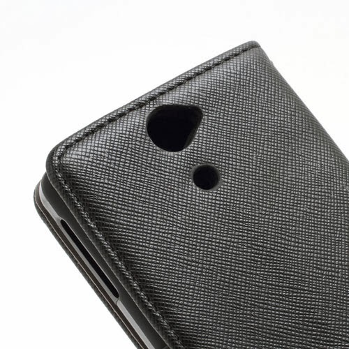 Cross Pattern MLT Wallet Leather Case Stand for Sony Xperia V LT25i VC LT25C - Black