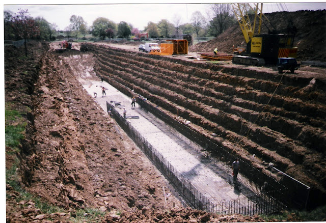 Photograph of the Thames Water Flood Defence being built in Central Park, Harold Hill, Essex