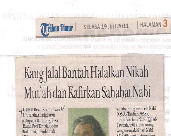 ... Kang Jalal Bantah Halalkan Nikah Mut'ah dan Kafirkan Sahabat Nabi