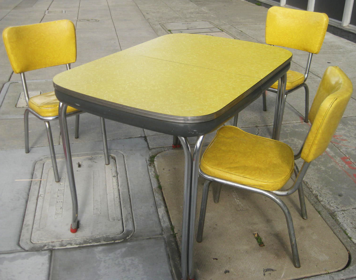 UHURU FURNITURE & COLLECTIBLES: SOLD - Yellow + Chrome '50s