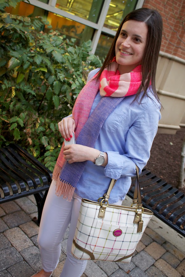 Gap scarf, striped scarf, pink scarf, blue shirt, boyfriend shirt, Gap shirt, white jeans, Gap jeans, white gap jeans, metallic flats, Zara metallic flats, coach bag, Timex watch, round Timex watch