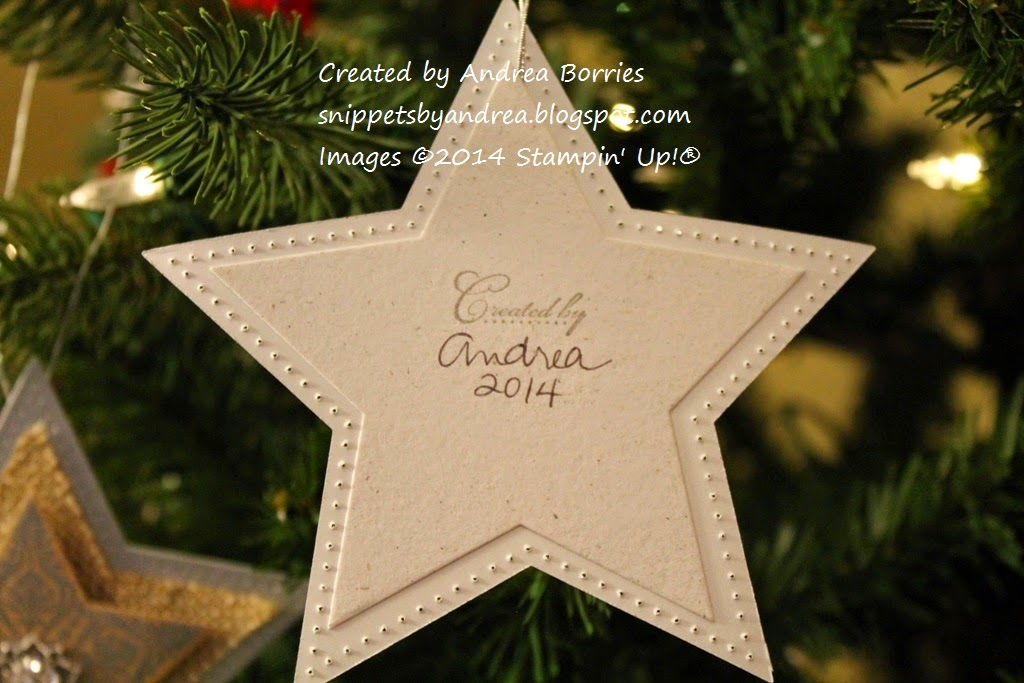 "Back of the star ornament, stamped ""Created by Andrea, 2014."""