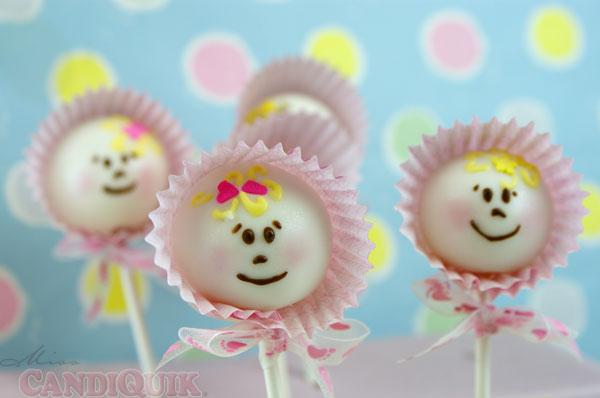 cake pops, baby, baby bonnet, girl, baby girl, cake pop girl