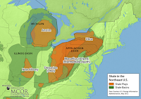 A map of the shale gas plays in the Northeast showing nearly all of western New York within the Utica and Marcellus shale plays. (Credit: Penn State University) Click to Enlarge.