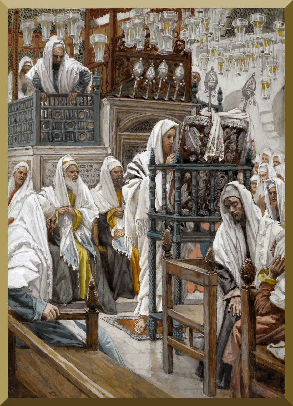 """Jesus Unrolls the Book in the Synagogue"" -- by James Tissot.jpg"
