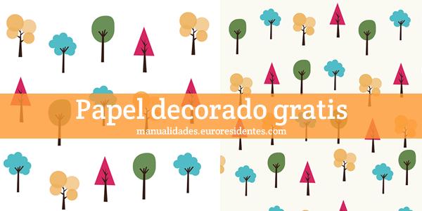 Papel decorado con árboles para imprimir gratis