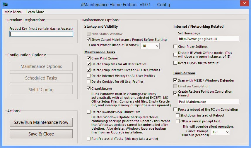 برنامج مجاني لصيانة وتنظيف وتحسين الكمبيوتر بشكل تلقائي dMaintenance Home Edition 3.0.1