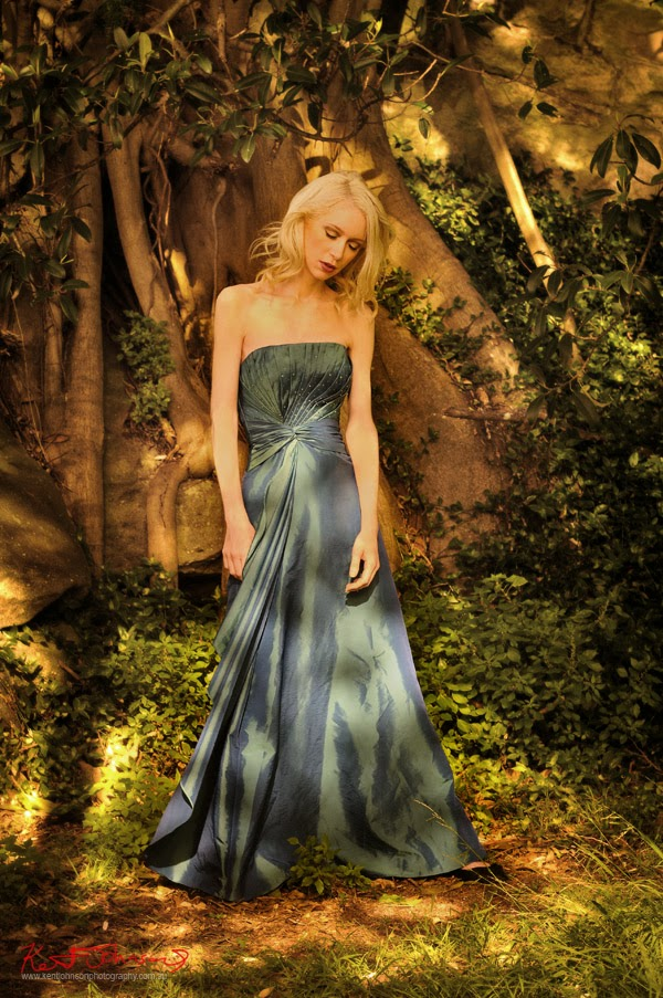 Sleeping beauty, Evening dress in magical parkland setting - Kent Johnson Photography