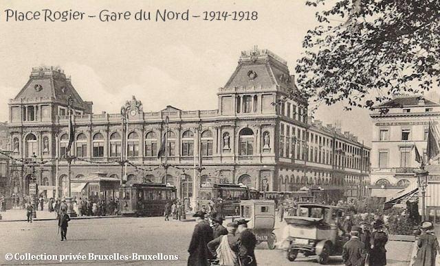 Place Rogier - Gare du Nord -  Années 1914-1918 - Hôtel Monico (à droite) - Bruxelles-Bruxellons