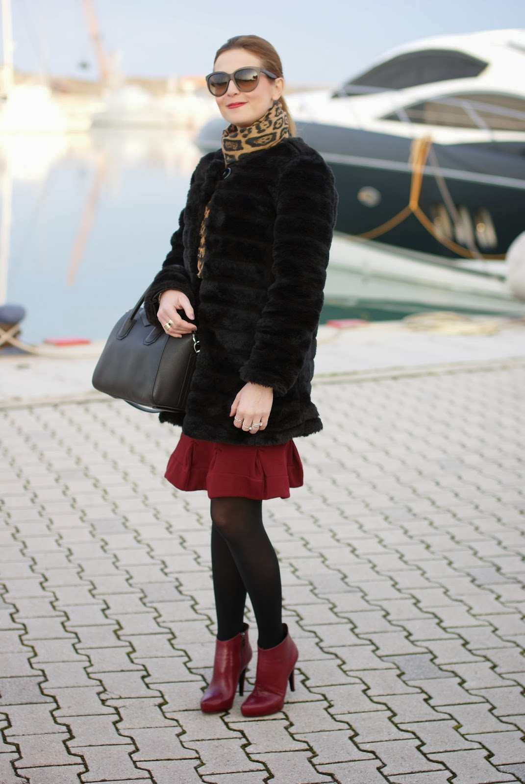 Black faux fur coat, Carven burgundy dress, leopard scarf, Givenchy Antigona bag, Icone burgundy boots, Fashion and Cookies, fashion blogger