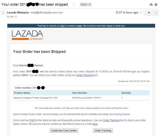 pengalaman beli belah online di Lazada Malaysia