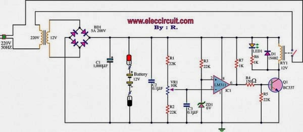 electronics circuit application 12v battery charger circuit using lm311 rh electronicsyard blogspot com Automatic Battery Isolator Circuit Digital Battery Charger Circuit