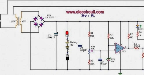 electronics circuit application 12v battery charger circuit using lm311 rh electronicsyard blogspot com Variable DC Battery Charger Circuit Charger Diagram Battery Automatic 5A12v