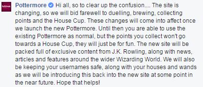 Commento sulla pagina Facebook di Pottermore