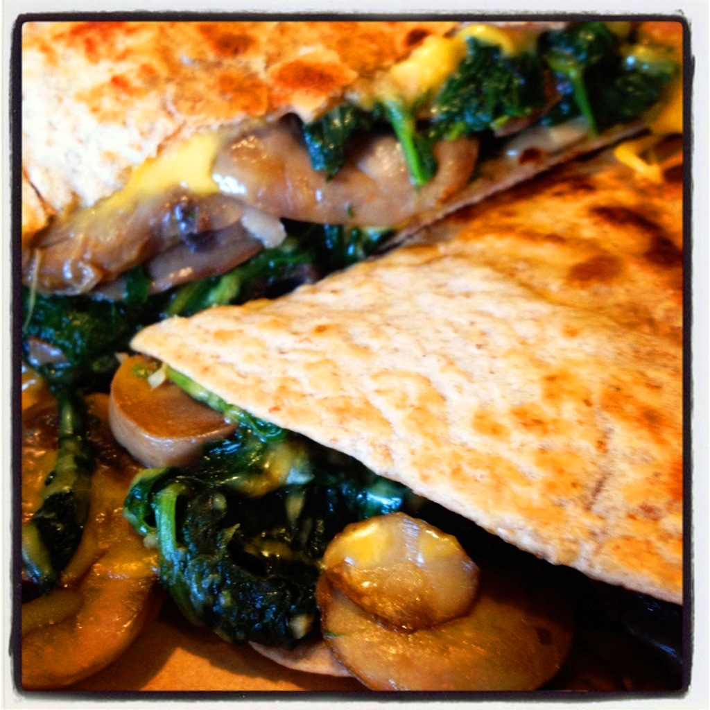 A Healthy Makeover: Spinach and Mushroom Quesadilla