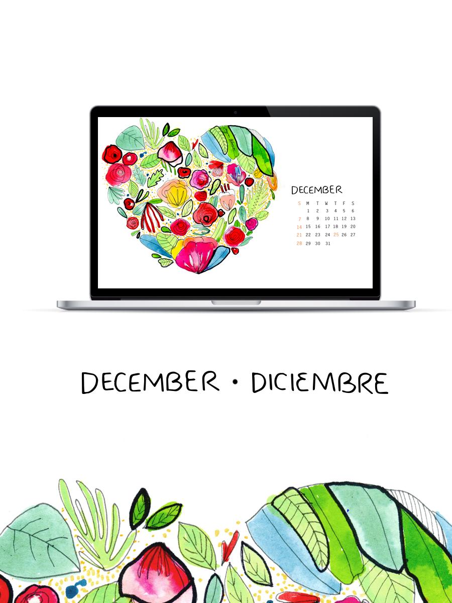 Wallpaper Calendario de Diciembre 2014