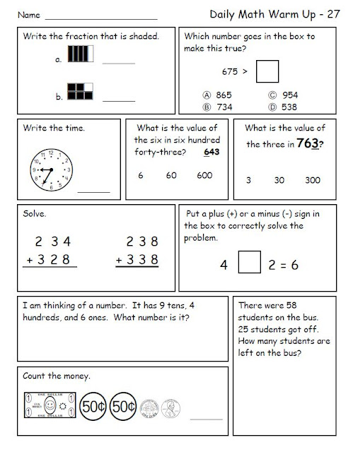 Smiling and Shining in Second Grade: Common Core Daily Math Review